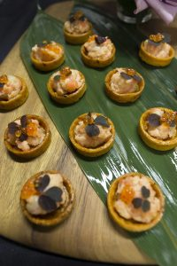 Salmon canapes for corporate product launches